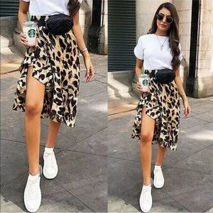 Dresses & Skirts - Leopard Animal Print Ruffle Hem High Low Skirt